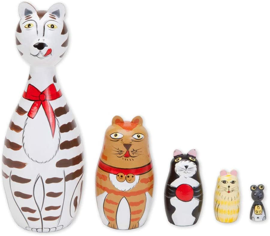 """/""""Cleo /& Friends Nesting Cats-Hand Painted Wooden Dolls... Bits and Pieces"""
