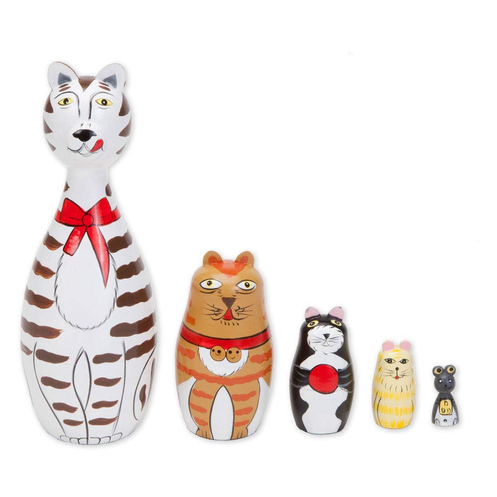 Bits and Pieces - ''Cleo & Friends Nesting Cats-Hand Painted Wooden Nesting Dolls Matryoshka - Set of 5 Dolls From 7'' Tall with Gift Box