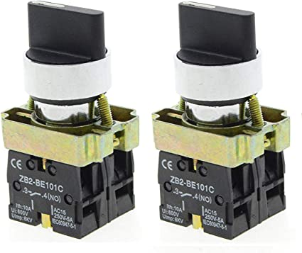 3-Position Rotary Selector Select Switch 2pcs 22mm Latching Type 2  ZB2-BE101C