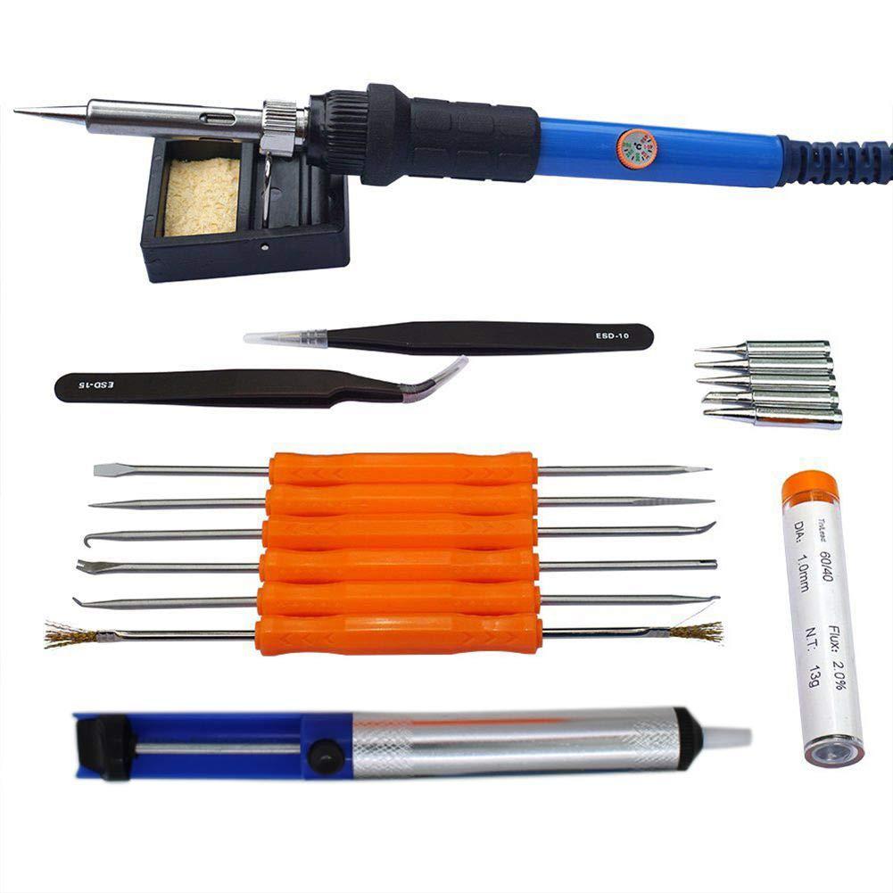 SODIAL 1 jeu de 60W 220V kit de fer electrique, sac reglable de fer a souder de temperature, 5 embouts, pompe a dessouder, 2 pincettes, tube etain, support et 6 outils auxiliaires (prise EU)