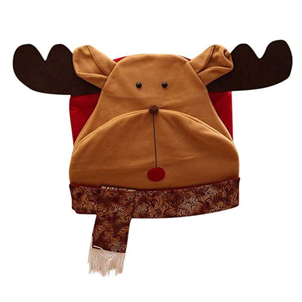 Couverture De Chaise Noel 2 Pcs Pere Noel Wapiti Et Snowman Bonnet