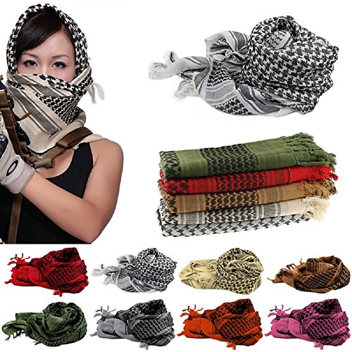 FUNOC 100% Cotton Rugged Military Tactical Scarf Shemagh Turban Wrap 43''x43'' (Red) by FUNOC (Image #1)