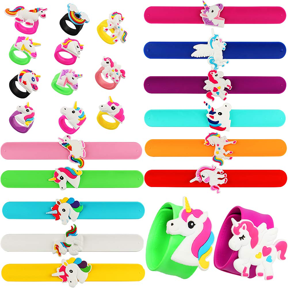 VAMEI 22 PCs Slap Bracelets Unicorn Rings Bracelets Rubber Toys Wristband Slap Bands Birthday Party Favors Supplies for Teens Girls Boys Kids by VAMEI (Image #1)