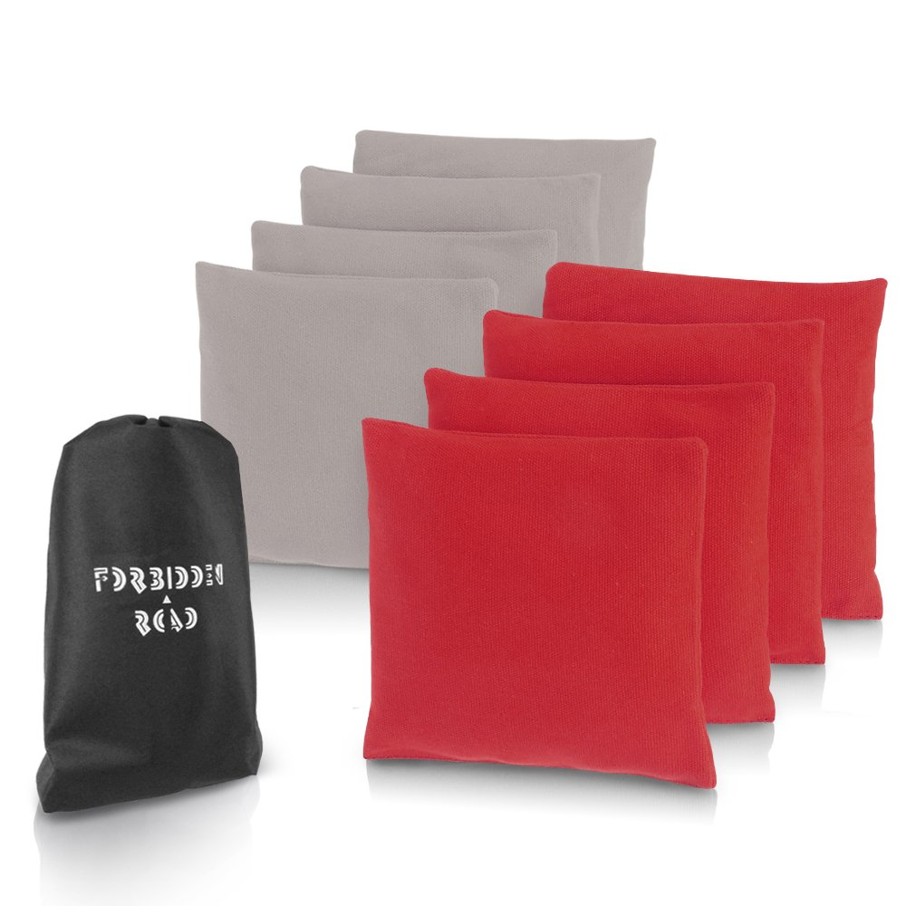 Forbidden Road Cornhole Bag Bean Bags Pack of 8 for Tossing Core Hole Games with Duck Canvas Material Cover and PP Plastic Pellets Inside - Free Carrying Bag Included (Red & Gray, 14OZ)