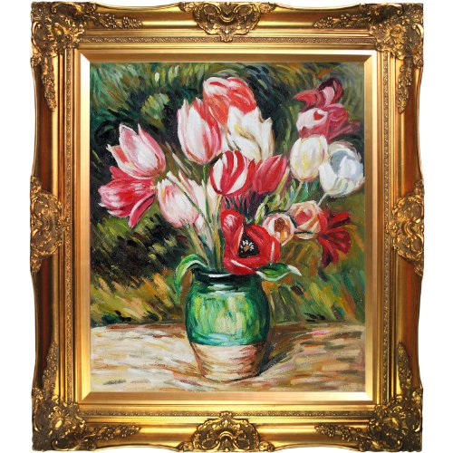 Vases Framed Canvas (overstockArt Pierre Auguste Renoir Tulips in a Vase 20-Inch by 24-Inch Framed Oil on Canvas)