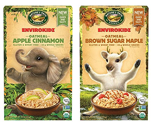 Natures Path Organic Envirokidz Gluten Free Oatmeal: Brown Sugar Maple & Apple Cinnamon, 2 Pack