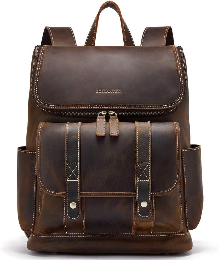 BOSTANTEN Leather Backpack 15.6 inch Laptop Backpack Vintage Travel Office Bag Large Capacity College Shoulder Bag