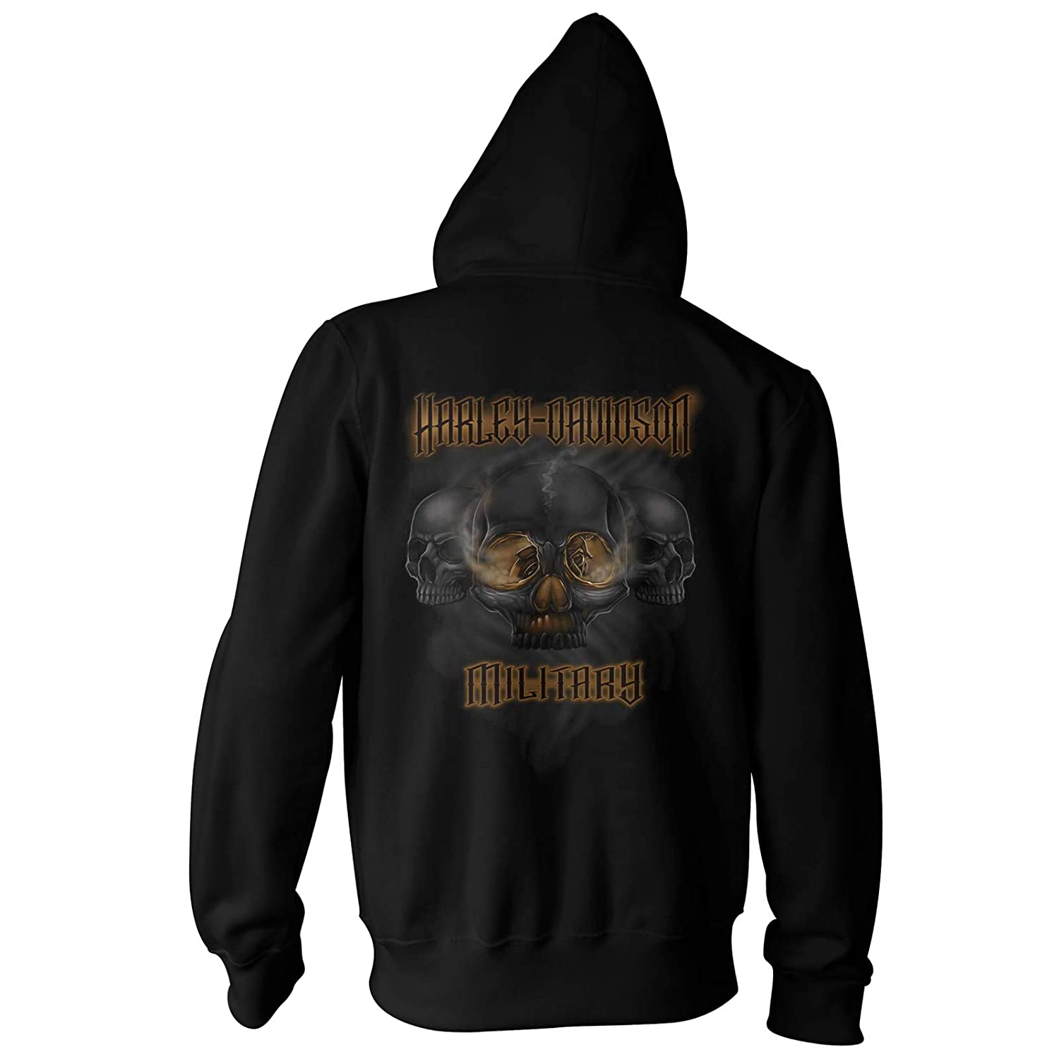 Smoking Eyes Mens Custom Zippered Hoodie with Unique Skull Eyes Back Graphics Harley-Davidson Military Overseas Tour