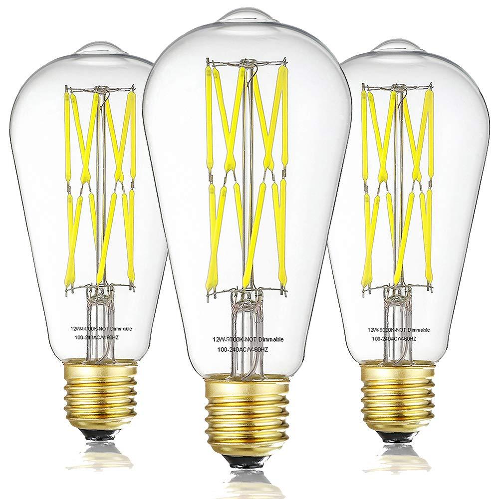 Pack of 3 ST64 LED Filament Bulbs,360 Degrees Beam Angle,Non Dimmable Vintage LED Edison Bulb 12W 5000K Daylight White 1200LM,100Watt Incandescent Equivalent E26 Base