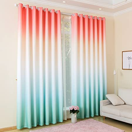 Kinlo 2 Panels Eyelet Blackout Curtains 145 X 245 Cm Gradient Color Pink White Green Thermal Insulated Top Eyelet Anti Noise Blackout Curtains With