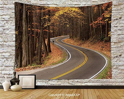 AngelDOU Fall Dorm Decor Wall Hanging Tapestry Curvy Roadway Through The Forest Great Smokey Mountains Change of Seasons Traveling for Living Room Bedroom.W78.7xL59(inch) -