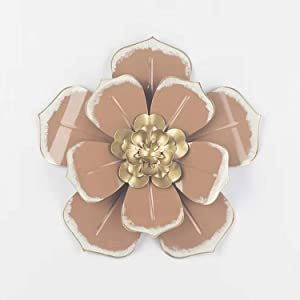 Multiple Layer Flower Metal Wall Art Home Decor for Indoor Outdoor Garden (brown)
