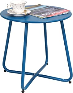 Grand Patio Steel Patio Side Table, Weather Resistant Outdoor Round End Table, Peacock Blue