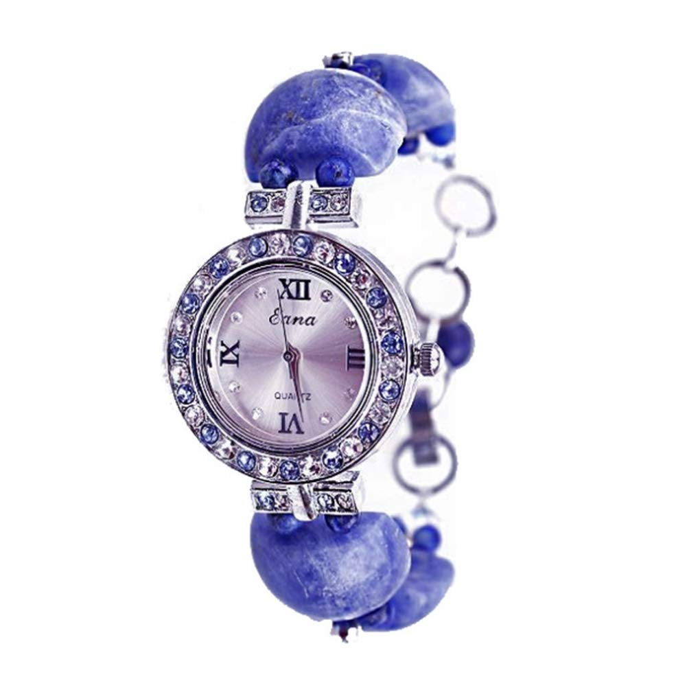 Estelle-tong Natural Sapphire Watch Fashion Personality Rhinestone Bracelet Casual Waterproof Quartz Watch Suitable for Girls Students Birthday Party Gift by Estelle-tong (Image #1)
