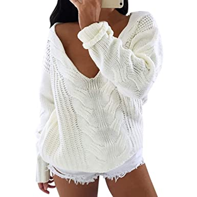 5d85afe319d04 Jolisson Pull Femme Hiver Chaud Manches Longues Sweat Col V en Tricot Sexy Loose  Casual Top