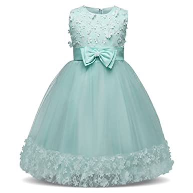 Flower Girl Dress for Baby Girls Princess Lace Tulle Dress Wedding Pageant Girl Party Costumes Clothes