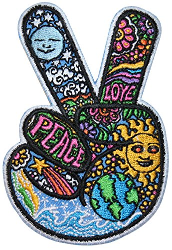 V Sign Victory Hand Hippie Peace & Love Symbol Dan Morris Iron (Peace Sign Fabric)