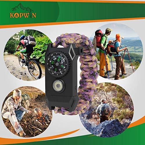 Kopwin Paracord Survival Bracelet Set – Bonus Keychain Multitool Included. Paracord Bracelet with Compass, Magnesium…