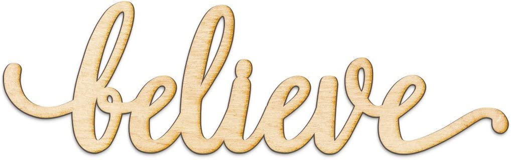 """Believe Script Wood Sign Home Decor Wall Art Unfinished Charlie 12"""" x 4"""""""