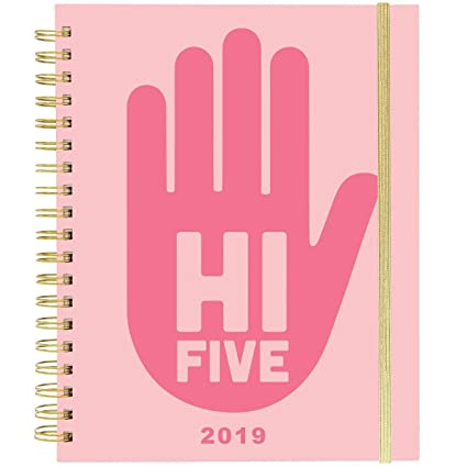 Amazon.com : Hi Five! Large Wiro Agenda 2019 Planner in Pink ...