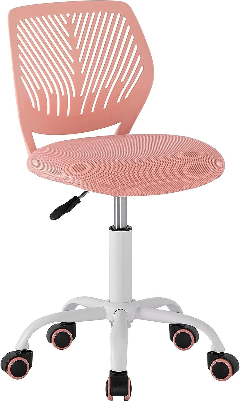 GreenForest Office Task Desk Chair Adjustable Mid Back Home Children Study Chair, Light Pink