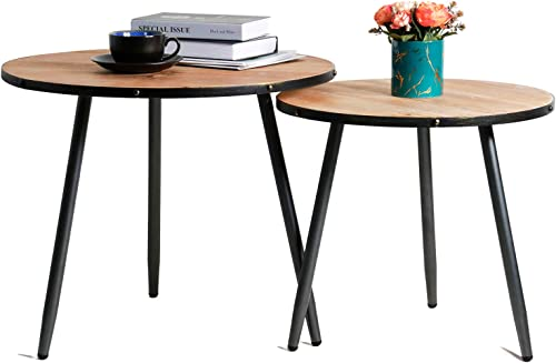 LITA Tray Wood Round Side End Table