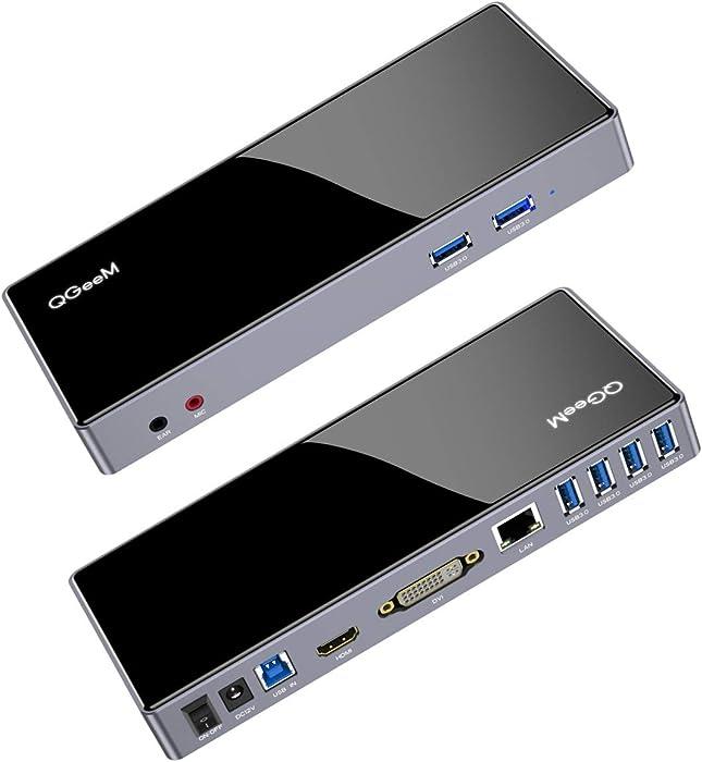 QGeeM USB Docking Station, USB 3.0 Universal Laptop Docking Station Windows,Chrome OS,Mac os10.8 Above(Dual Video HDMI and DVI/VGA,Gigabit Ethernet,Audio,6xUSB 3.0 Ports),Docking Station Dual Monitor