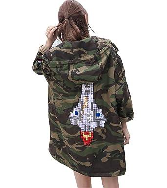 LAI MENG Damen Casual Camojacke mit Raumschiffstickerei Lose Stil Denim  Jacket Herbst Winter Mantel mit Kapuze c472233661