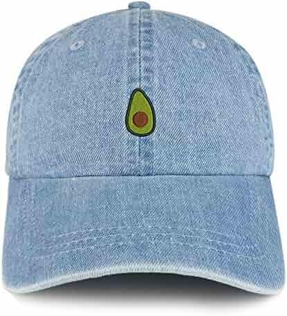 Trendy Apparel Shop Avocado Embroidered 100% Cotton Denim Cap Dad Hat af5b828396c9