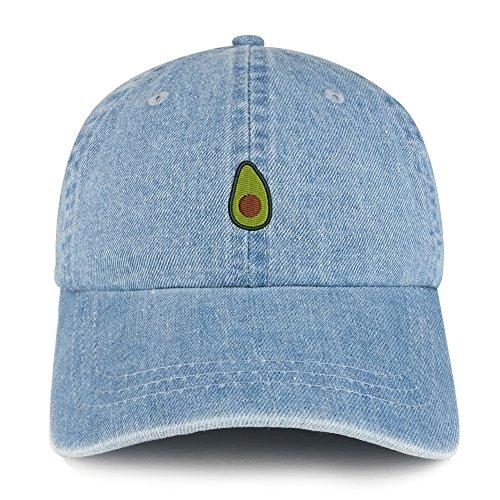 Avocado Embroidered 100% Cotton Denim Cap Dad Hat - Light Blue ()