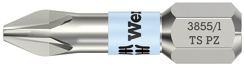 Wera 3855/1 TS Pozidriv PZ2 Torsion Stainless Steel Insert Bits 25mm Carded WER073614 05073614001