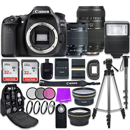 Canon EOS 80D 24.2MP CMOS Full HD Wi-Fi Enabled Digital SLR Camera with Canon EF-S 18-55mm IS STM Lens + Tamron 70-300mm f/4-5.6 AF Lens + Accessory Bundle - Slr Accessory