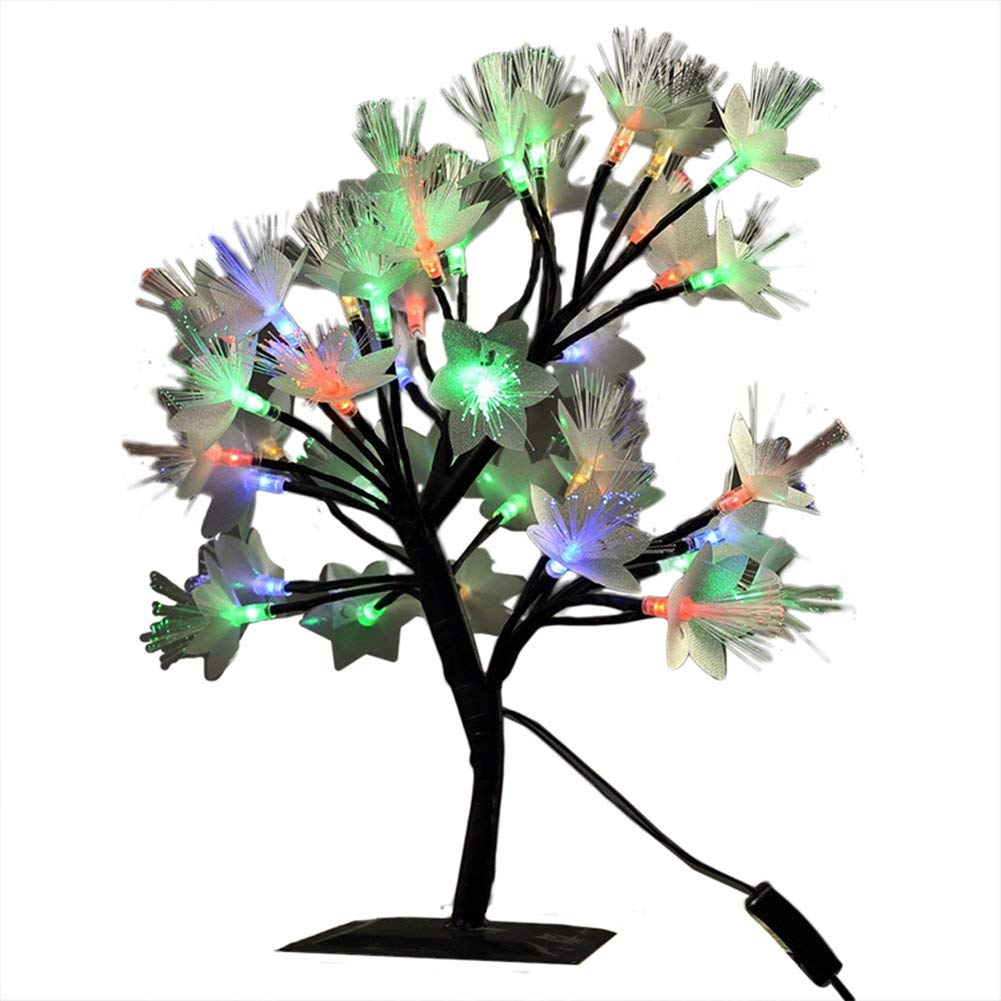 MHOLFB 0.4M/15.8 inch 40 LEDs Fiber Optic LED Cherry Blossom Tree Branches Light Table Lamp Desk Top Bonsai Decoration for Home Festival Party Wedding Christmas (Multi-Colored)
