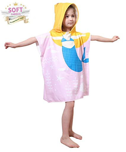 f73d4d8096 Image Unavailable. Image not available for. Color: Toddler Hooded Beach Bath  Towel – Mermaid Soft Swim Pool Coverup Poncho Cape For Girls Kids