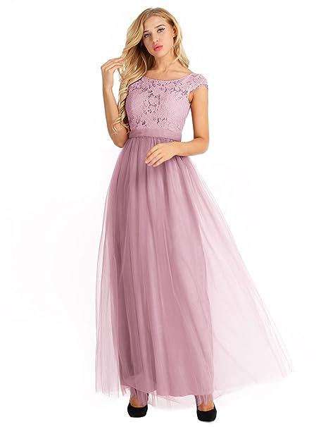 YiZYiF Vestidos Mujeres Largo Gala Elegante Encaje Floral Cóctel Fiesta Madrina Sin Mangas Tul Dusty Rose