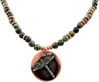 product image for Modern Artisans Copper Dragonfly Pendant on Serpentine Stone Necklace, 18-Inch, American Made