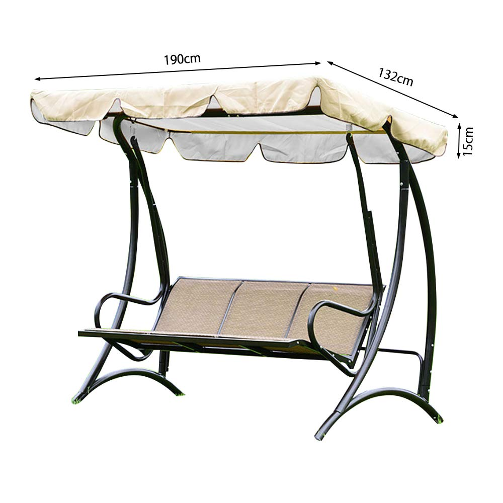Seacan Swing Canopy Replacement Swing Chair seat Top Cover UV Block Sun Shade Waterproof 3 seaters//2 seaters Beige, 3 Seat