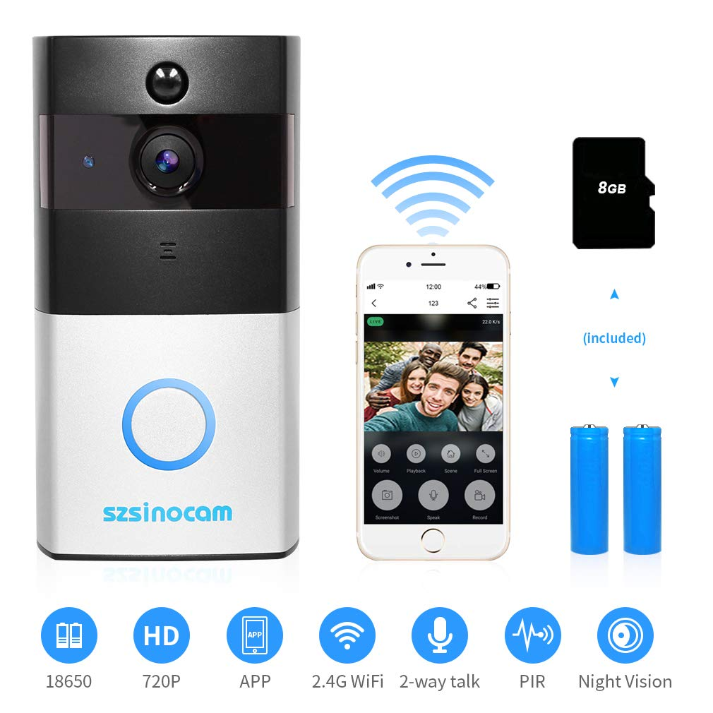[Updated Version] Wireless Video Doorbell, Szsinocam Wireless Doorbell Door Chime 720P HD with Real-Time,Two-Way Audio, 166° Wide Angle, PIR Motion Detection, and Night Vision for Home Office 166°Wide Angle