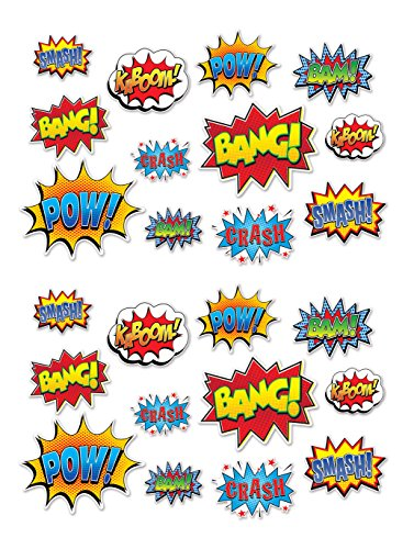 Beistle 59902 24 Piece Hero Action Sign Cutouts, 6″ to 12.5″, Multicolor