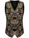 ZEROYAA Mens Hipster Geek Metallic Paisley Floral Printed Slim Fit Single Breasted Suit Vest/Tuxedo Waistcoat