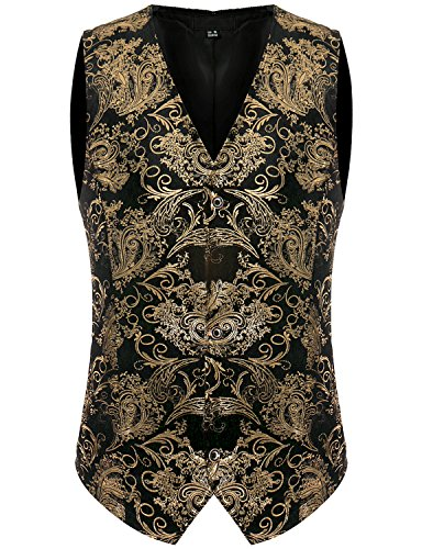 ZEROYAA Mens Hipster Geek Metallic Paisley Floral Printed Slim Fit Single Breasted Suit Vest/Tuxedo Waistcoat Z49 Gold Medium Performance Suit Vest