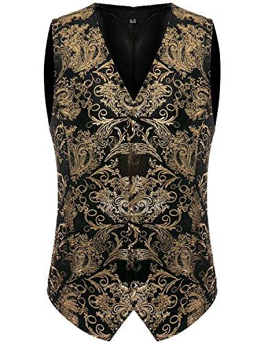 ZEROYAA Mens Hipster Geek Metallic Paisley Floral Printed Slim Fit Single Breasted Suit Vest/Tuxedo Waistcoat Z49 Gold - Geek Hipster