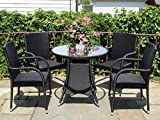 5 Pc Patio Resin Outdoor Wicker Dining Set. Round Table w/Glass+4 Arm Chair. Black Color For Sale