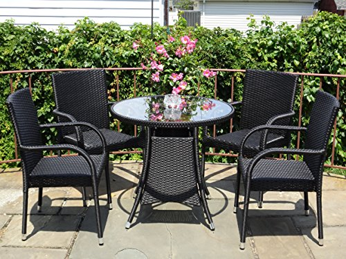5 Pc Patio Resin Outdoor Wicker Dining Set. Round Table w/Glass+4 Arm Chair. Black Color (Chairs And 4 Black Table Glass Round)