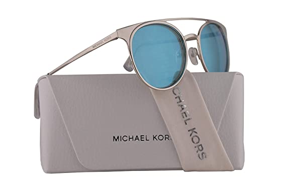 a1b6bf6cc9 Image Unavailable. Image not available for. Color  Michael Kors MK1030 Grayton  Sunglasses Shiny Silver w Teal Mirror Lens 52mm 113725 ...