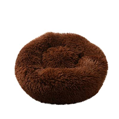 Pet Bed, Dog Cat Breathable Round Bed Winter Warm Sleeping Bag Long Plush Soft Pet Bed Calming Bed: Clothing