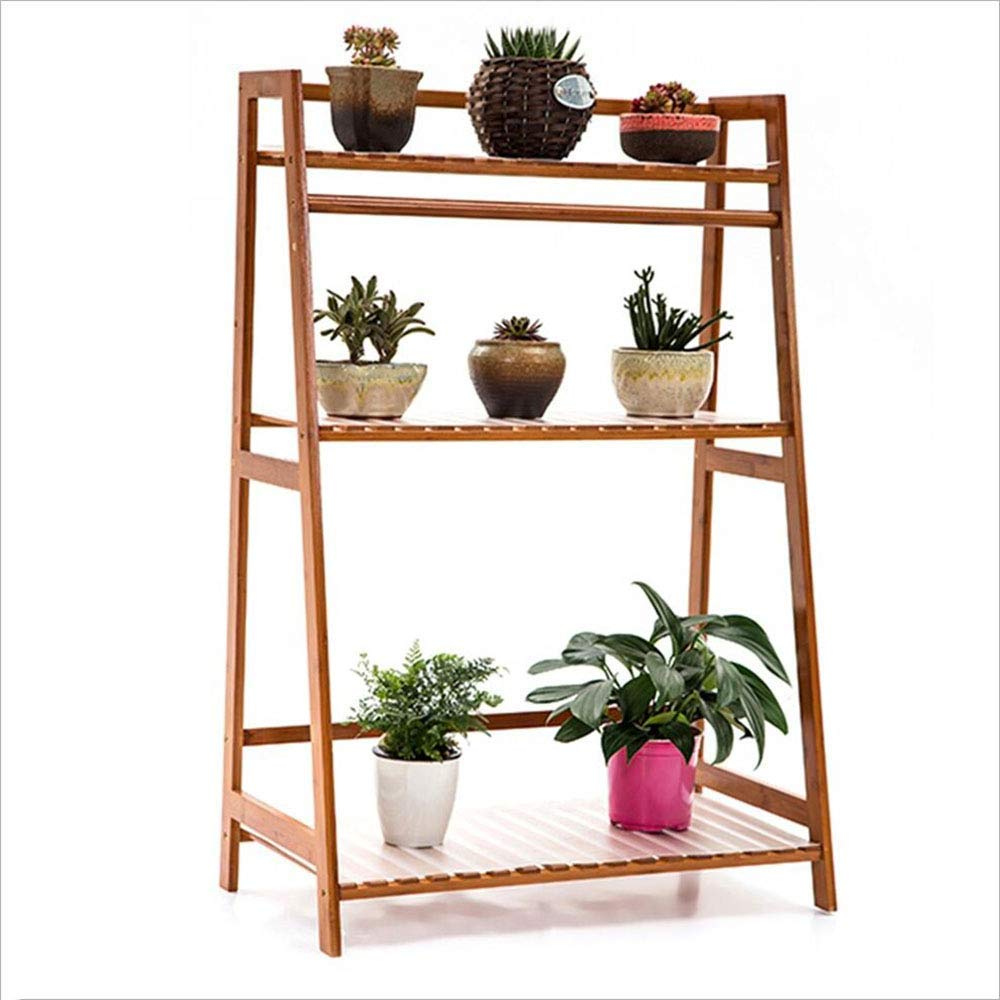 A Xingkaiji Flower Stand Balcony Floor Type Multi-Layer Green Plant Wood Flower Shelf Indoor (color   B)