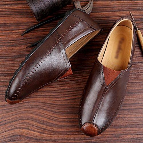 Scarpe Basse Scarpe Uomo Mocassini Casual Slip Loafers PU 1 Marrone da Business Pelle On Anguang Guida WxHngwcx