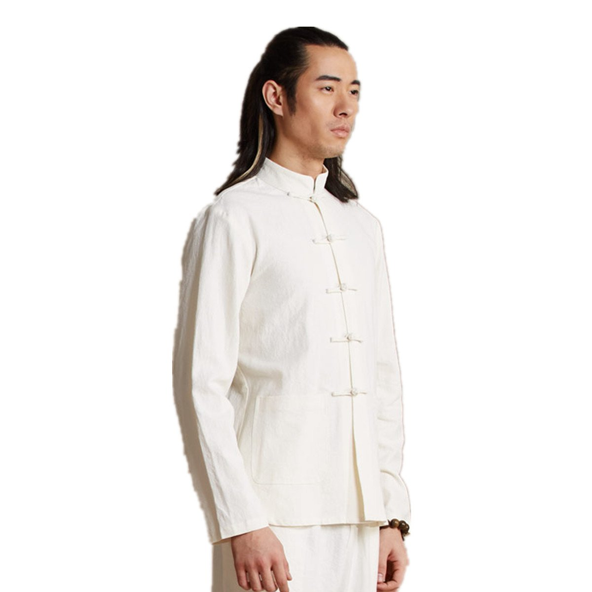 WEISAN Men Chinese Retro Stand Collar Tang Suit Cotton Linen Kung Fu Costume Jacket by WEISAN (Image #1)