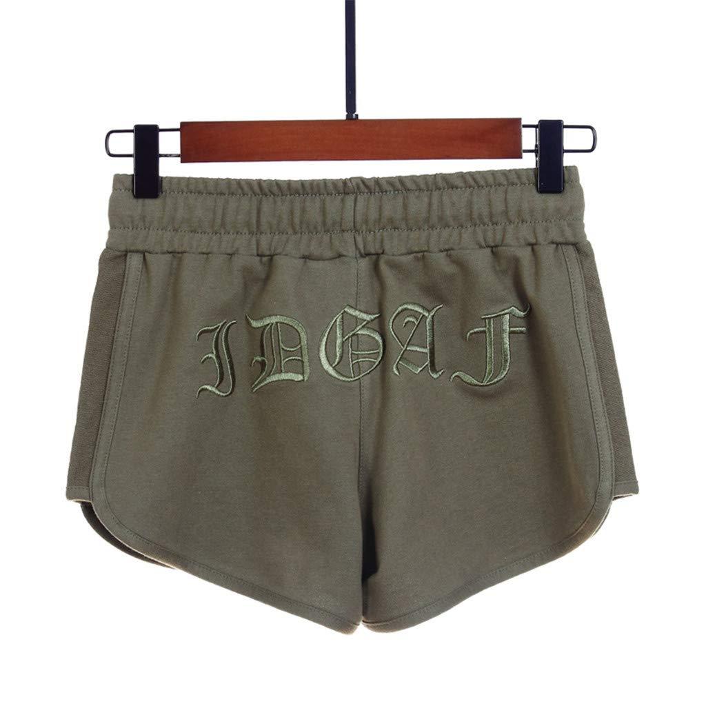 beautyjourney Shorts de algod/ón para Mujer Pantalones Cortos Deportivos de Verano Pantalones Cortos de Color Liso Pantalones Cortos de Cintura el/ástica